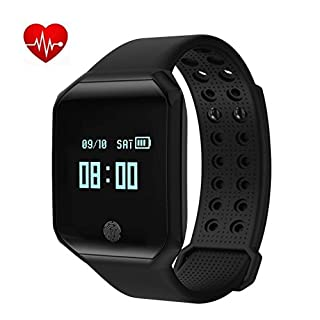 Fitness tracker Bluetooth smart bracelet Heart rate and blood pressure monitoring incoming call SMS notification smart watch IP67 waterproof Compatible with Android and IOS(Black)