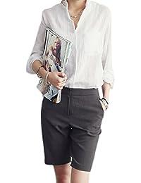 Suvotimo La Mujer Casual con Cuello Camisa De Lino Manga Larga Blusas Tops De Oficina