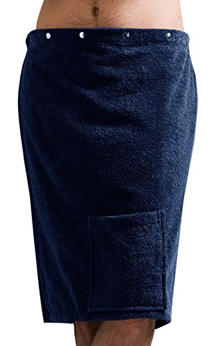 Saunakilt Herren blau - jeans, das Saunatuch FUN aus Frottee Baumwolle, Saunarock mit Druckknöpfen, Tasche und Gummizug -