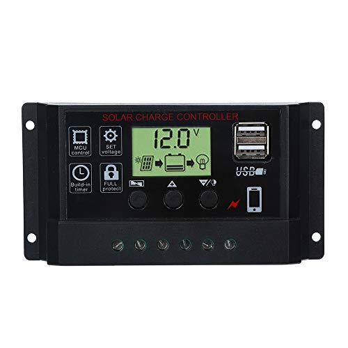 Javpoo Controlador de Carga del regulador del Panel Solar USB 10A 12V-24V con Cargador USB Dual