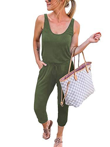 Caracilia Damen Sommer Tank Overall lässig lose ärmellose Strahl Fuß elasitic Taille Jumpsuit Strampler mit Taschen, 02-armeegrün, S(EU36-38) Lange Frauen Jumpsuits