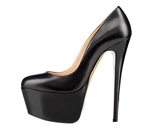 Guoar - Scarpe chiuse Donna ecopelle nera