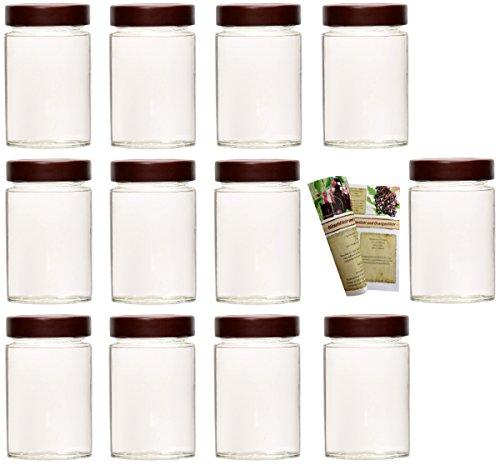 gouveo 12er Set Einmachgläser Klassik 212 ml inkl. Drehverschluss Braun, Vorratsgläser, Marmeladengläser, Einkochgläser, Gewürzgläser, Einweckgläser -