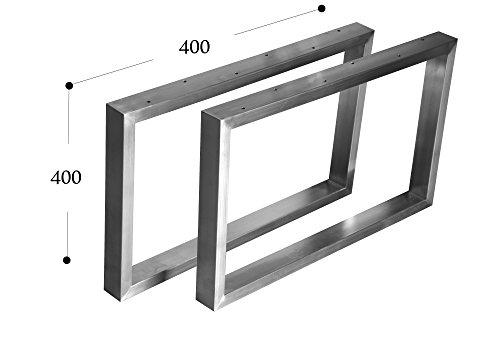 Couchtisch Kufengestell Tischgestell Edelstahl 201 Rahmentisch Tischkufe Tischuntergestell (400x400 mm) - 1 Paar