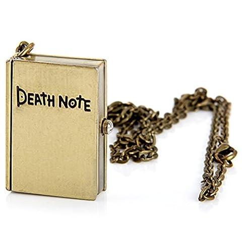 PIXNOR Rétro Vintage Montre de Poche Quartz Portable Carnet Flip Montre de Poche Death Note Montre Collier