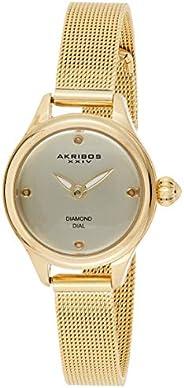 Akribos XXIV Women's Mother of Pearl Diamond Dial Stainless Steel Band Watch - AK874TRI, Analog, Qu