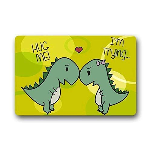 tgyew Cushion Funny Dinosaur Lovers Hug Me - I\'m Trying Short Hand Home Decorations Rug Rectangle Size 23.6x15.7,Multi-Function Indoor Outdoor Beautiful Doormat