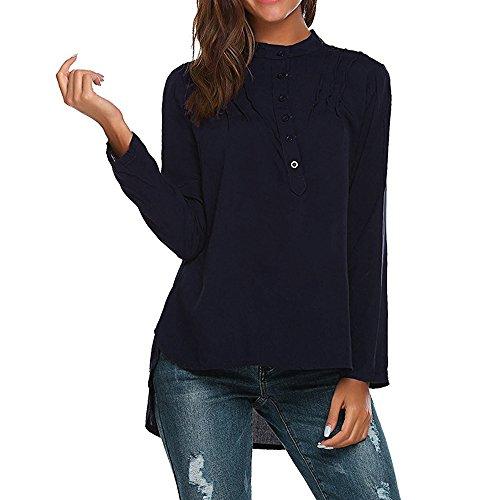 Kobay Camicetta a Maniche Lunghe con Scollo a V Manica Lunga da Donna Moda T-Shirt a Maniche Lunghe Larghe(Marino,Small)