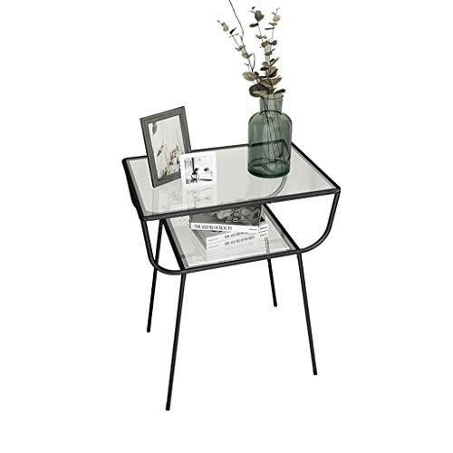 Nordic piccolo tavolo da tè lato metallo in ferro battuto vetro divano ad angolo camera da letto moderno e minimalista comodino comodino nero (prodotto solo include comodino) (colore : nero)