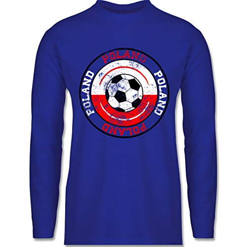 EM 2016 - Frankreich - Poland Kreis & Fußball Vintage - Longsleeve / langärmeliges T-Shirt für Herren Royalblau