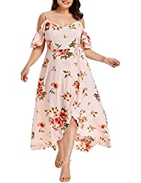 1903da6d2ff FNKDOR Holiday Traveling Style Plus Size Women Beach Dating Slim Casual  Short Sleeve Cold Shoulder Boho Flower Print Long Shift Dress…