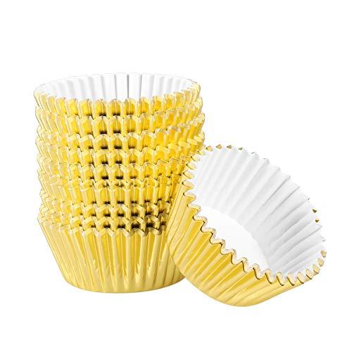 BESTONZON 200pcs Cupcake Cups/Cake Liner/Muffinformen, Aluminiumfolie, verdickt, geeignet zum Backen (Light Golden, 2,6 x 1,9 x 1,3 Zoll)