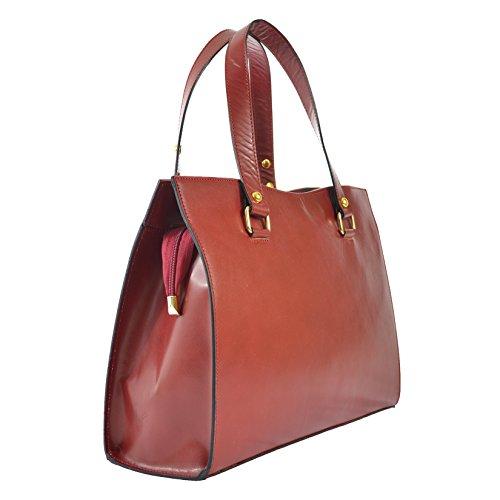 CTM Frauen klassische Handtasche aus echtem Leder hergestellt in Italien D9134 - 38x27x12 Cm Rote
