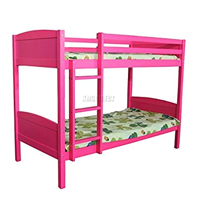 FoxHunter 3FT Bunk Bed Wooden Frame Children Sleeper No Mattress Single Pink Furniture New