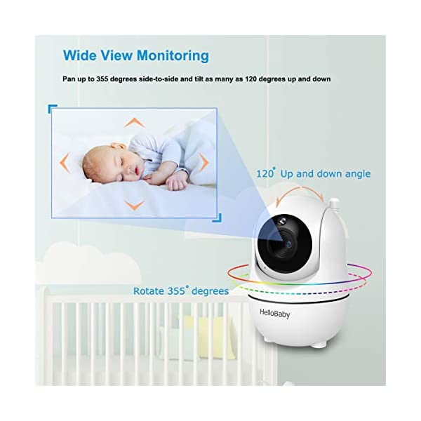 """HelloBaby Video Baby Monitor, [HB66] with VOX Mode Remote Camera Pan-Tilt-Zoom 3.2 Inches Color LCD Screen Infrared Night Vision Temperature Monitoring Lullaby 2-Way Audio (Black) hellobaby 3.2"""" LCD DISPLAY & 2.4GHz WIRELESS TECHNOLOGY: This video baby monitor is equiped with a 3.2 inch TFT LCD display. Application of frequency hopping and digital encryption technology ensures secure and reliable connection. REMOTE PAN TILT and ZOOM: Remote control camera rotate 355° in horizontal and 120° vertical ensuring you always have a clear view of your baby from any angle. TWO WAY TALK: The crystal clear two-way audio feature allows conversation both ends as clear as if you were in the same room with your little one. 9"""