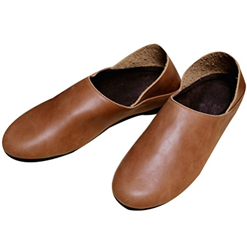 Vogstyle Femme slip-on cuir chaussures plates T004_Marron