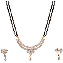 Sitashi 18 K Gold Plated AD American Diamond Fashion Jewelry Mangalsutra Set For Women