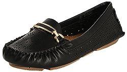 Flat n Heels Womens Black Synthetic loafers, EU 36