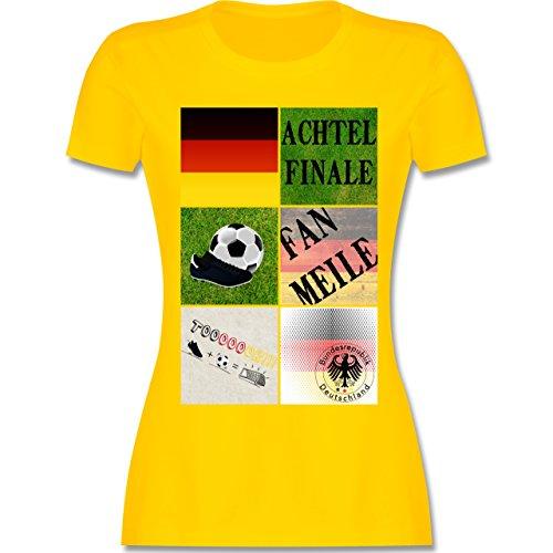 EM 2016 Frankreich Deutschland Achtelfinale Fan Shirt tailliertes Premium  TShirt mit Rundhalsausschnitt für Damen Gelb