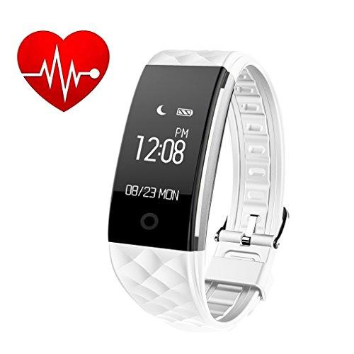 M-znsh Wasserdichte Fitness Tracker, Bluetooth Smart Watch Pulsmesser Smart Armband Activity Tracker Uhr Schrittzähler Armband Schlaf-Monitor (Farbe : Weiß)