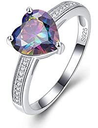 Bonlavie Solitaire 925 Sterling Silver Engagement Ring with 10*14mm Oval Cut Created Mystic Rainbow Topaz