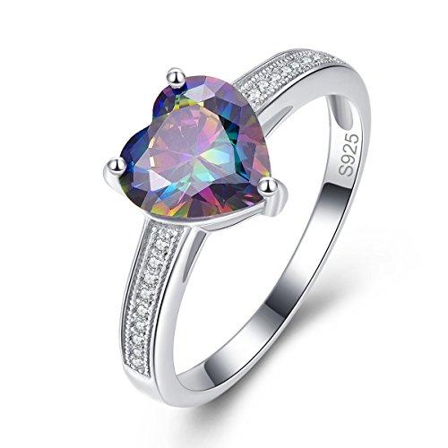BONLAVIE Damen -  925 Sterling-Silber  Sterling-Silber 925 Herzschliff   Weiß/Wesselton (H)   Topaz Herzen Versprechen Ring