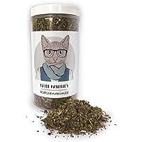 Hierba gatera (para gatos / Catnip) hace a su gato feliz. Paquete XXL de 60g. Excelente calidad: Solo la mejor hierba gatera para su pequeño amor (seca y en pequeños trazos). Util como botana o juegete para gatos.
