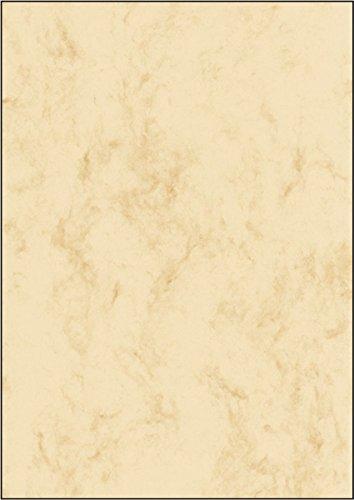 Marmor-Papier, beige, A4, 90 g/m², 25 Blatt Stilvolles Marmor-Papier, Farbe beige, beidseitige Marmorstruktur. Klassisch elegant und universell einsetzbar. 90 g, für alle InkJet- und Laserdrucker sowie Kopierer.