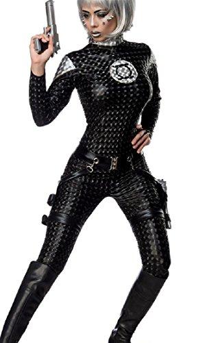 Damen Space Girl Catsuit Kostüm Verkleidung mit Overall, Holster, 2 Pistolen mit Wetlook Material in 3D Optik Onesize, Schwarz, (Kostüme Girl Material)