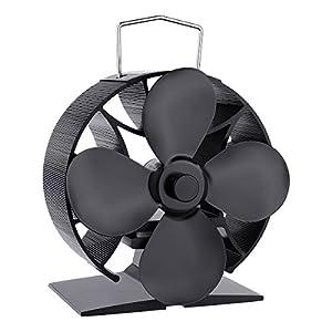 Wood Stove Heat Powered Fan Stove Top Fan Heat Driven Stove Fireplace Fan (round)