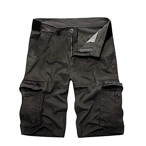 Herrbar Herren Cargo Shorts Baumwolle Bermuda Vintage Casual Kurz Hose (Grau, W38)