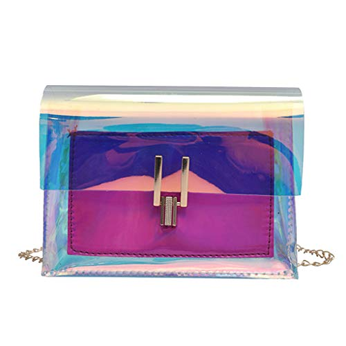 Fenverk Handtasche Damen Klein Transparente Tasche Rucksack Ledertasche Kleine Frauen Messenger Bag Crossbody Telefon Damentasche UmhäNgetasche Schultertasche Handtasche(Hot Pink)