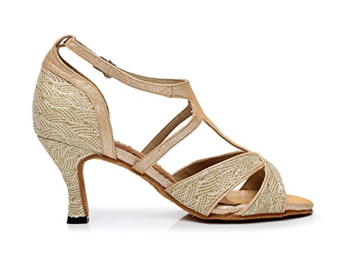 Minitoo da donna stile qj6203T-Strap tacchi Mesh Salsa Latin Dance scarpe Gold