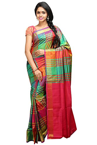 Lakshmi Venkateswara Silks Women's Pure Soft Silk Saree with Blouse Piece (Green and Red)