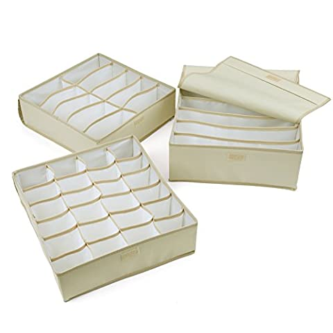 EZOWare (Set of 3) Collapsible Storage Boxes Dust-proof Drawer Dividers Foldable Closet Organisers for Bra, Underwear, Lingerie, Underpants, Scarf, Towels, Socks, Neck Ties - Beige