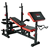 TrainHard Kraftstation Fitnesscenter Hantelbank mit vielseitigen Trainingsmöglichkeiten schwarz/rot