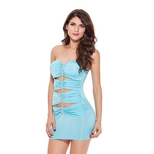 ZTXY Dessous für Frauen sexy Maid Uniform Outfits Korsett Unterwäsche Party Kostüm Baby hellblau Milch Seide Nachthemd Skinny ()