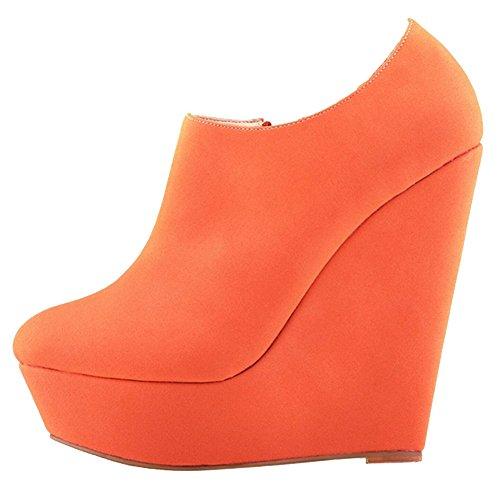 MERUMOTE Damen Y-028 Plattform Side Zipper High Heels Stiefeletten Schuhe Orange