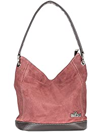 d50d8fea690ae LIATALIA - Tote Bag Shopper Schultertasche im echtes italienische  Veloursleder (Mittelgroß) -