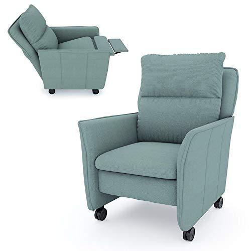 place to be. Relax-Sessel mit Funktion auf Leichtlauf-Rollen in Premiumqualität im skandinavischem Stil. Ohrensessel rollbar mit Schlaffunktion Salbei elektrisch 1-motorisch