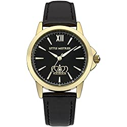 Little Mistress Women's Quartz Watch with Black Dial Analogue Display and Black PU Strap LM018