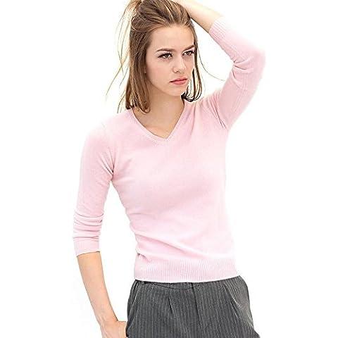 Moda donna maglione girocollo Cashmere manica lunga , 1 , xxl