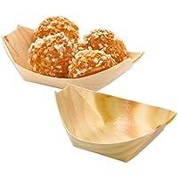 Pack de 400 Platos barqueta de madera BAMBÚ presentación degustaciones de aperitivos en catering y hostelería