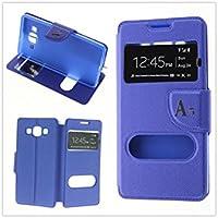 MISEMIYA - Coque Étui pour Samsung Galaxy A5 2016 (A510F) - Étui + Protecteur Verre Trempé, COVER-CRUZADA avec support,bleu