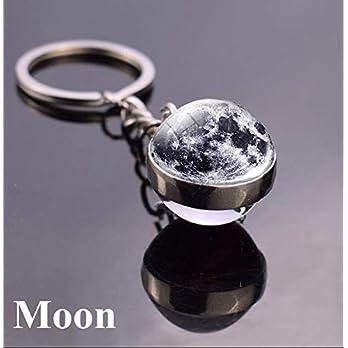 Mond Schlüsselanhänger handmade Glas-Cabochon Edelstahl Planet für Handtasche oder Schlüsselbund