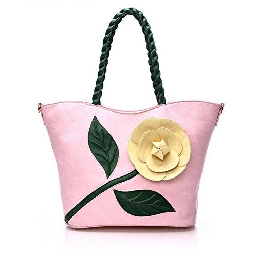 GBT Gewebte Handtasche Schultertasche Pink