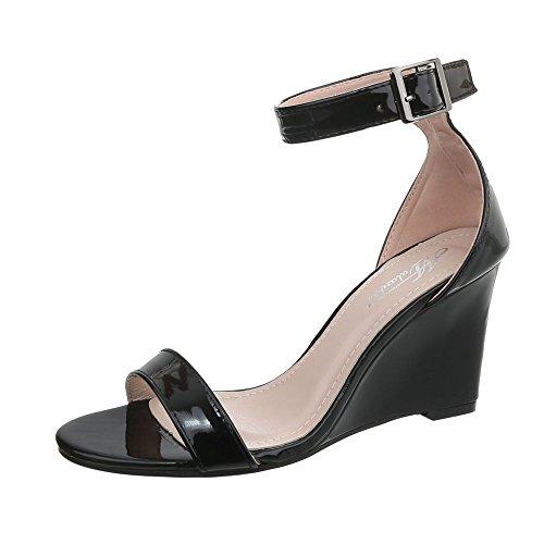 Ital-Design Keilsandaletten Damen-Schuhe Keilabsatz/Wedge Keilabsatz Schnalle Sandalen & Sandaletten Schwarz, Gr 38, Q-17-