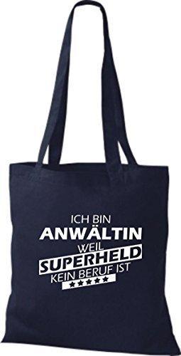 Shirtstown Stoffbeutel Ich bin Anwältin, weil Superheld kein Beruf ist Navy