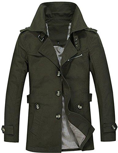 Grünen Männer Trenchcoat (Menschwear Herren Jungen Übergangsjacke Langarm Trenchcoat Mantel Kurzmantel Einreihig Jacke (M,Grün))