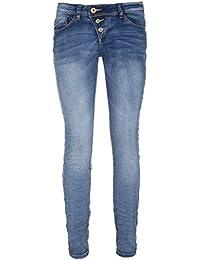 fc3b903fb1f0 Rock Angel Skinny Fit Blue Jeans - 5-Pocket Denim Damen Röhrenjeans mit  schräger Knopfleiste